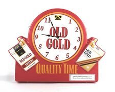 Vintage Double Sided Red Plastic Old Gold Cigarettes Advertising Sign Clock