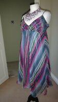 100% Pure Silk Atmosphere Pink, Purple Asymmetric Swing Dress Plus Size UK 18