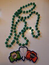 Rare Miller Lite Mgd 3 Shamrock / St. Patrick's Day Mardi Gras Beads / Necklace