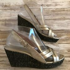 41ad617f21 Corso Como 7M Silver Leather Slingback Wedge Platform Sandal Womens