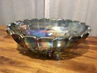 Vintage Blue Iridescent Carnival Glass Indiana Fruit Bowl