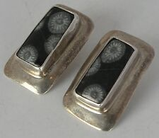 Vintage unique Sterling silver & fossilized stone large earrings signed Mathews