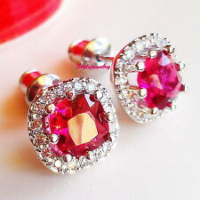 Zirconia Bridal Square Stud Earring Xe35 Beautiful 18k White Gold Gf Ruby Cubic