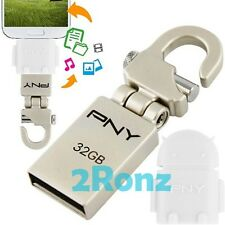 PNY Mini-Hook + OTG Adapter 32GB 32G USB Flash Drive Mobile Android Robot White