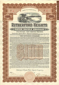 Rutherford Heights Pennsylvania water bond certificate