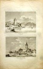 """Eau Forte - LOUIS MASQUELIER,""""Vue du château de Glérolle et vue du port d'Ouchy"""""""