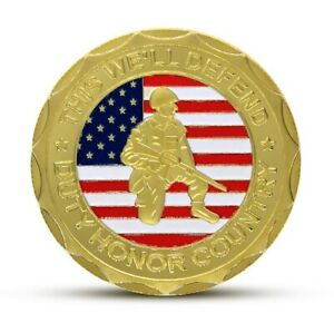 U.S. United States Army | Veteran Proudly Served | Gold Plated Challenge Coin