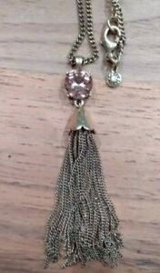 J.CREW gold tone pale pink stone long Tassel Necklace Boho Hippie Chic festival