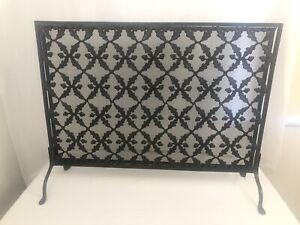 Iron Weave Single Panel Firescreen Pine Cone/Leaf Latticework Fireplace Screen