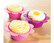 NEW KLEENEZE SET OF 2 PINK 2 PURPLE FLOWER SILICONE CUPCAKE CASES BUNS FLOWERY C