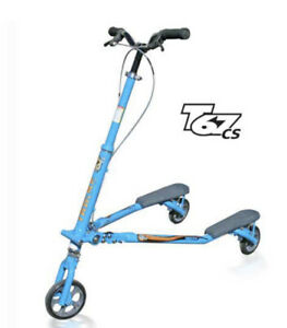 TRIKKE T67 cs CARVING SCOOTER 3 WHEEL FOLDING SCOOTER Blue (Upgraded Wheels)