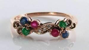 LUSH 9CT 9K ROSE GOLD SAPPHIRE RUBY EMERALD & DIAMOND ETERNITY ART DECO INS RING