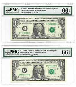 1995 $1 MINNEAPOLIS FRNs, 2 CONSECUTIVE & PMG GEM UNCIRCULATED 66 EPQ BANKNOTES