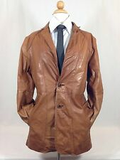 Vintage Mens Leather 2 Button Coat Casablanca Size 44 Brown Clean Coat
