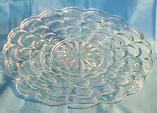 Vassoio centrotavola in cristallo-bordo smerlato-fiore intarsiato centrale-cm.33
