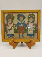 Crafted Needle Point Pilgrim Children Holding Hands. 1950s. Original Frame.