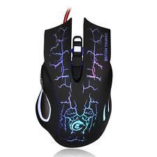 New USB 2.0 5500DPI Wired Gaming Mouse Backlight Illuminated Multimedia Mice US