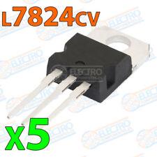 5x Regulador tension L7824CV L7824 7824 24V 1,5A - VOLTAGE REGULATOR TO-220