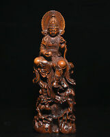 "7"" Old Chinese Boxwood Wood Hand Carved Kwan-yin GuanYin Goddess Buddha Statue"
