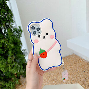 3D Cute Bear Strawberry Cartoon Silicone Case for iPhone 13 12 11Pro Max XS XR 8