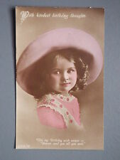 R&L Postcard: Birthday Greetings Colour Tinted Girl in Hat Portrait
