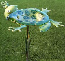 "Bird Feeder Bath Frog Backstroking metal & glass on pick post NEW 29"" tall"