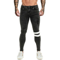 GINGTTO Ripped Men Slim Fit Jeans Super Skinny Stretch Frayed Biker Denim Pant