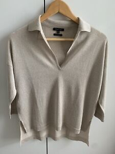 MASSIMO DUTTI Oatmeal Collar Fine Knit Jumper Extra Small New W/o Tags