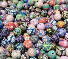 50 Mixed POLYMER FIMO CLAY Round Flower BEADS 10mm - 12mm Mix Patterns