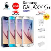 Samsung Galaxy S6 SM-G920V 32GB 4G LTE Verizon Unlocked Black/White/Blue/Gold UK