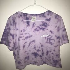Pink By Victoria Secret Purple Tye Dye Half Shirt Size Large
