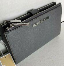 New Michael Kors Jet Set Travel Double Zip Wristlet Leather Wallet Heather Grey