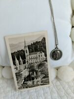 Vintage 40's Virgin Mary Our Lady of Lourdes in Grotto Medal Pendant w/Postcard