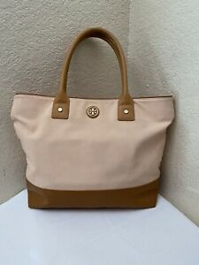 TORY BURCH COLORBLOCK BLUSH & TAN LEATHER TRIM COATED CANVAS SHOULDER TOTE BAG