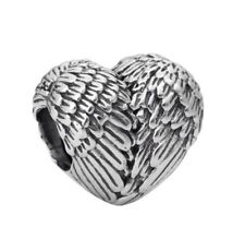 Angelic Feathers Charm Bead, Silver Plated Angel Wings Heart European