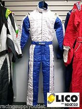 Sparco/Lico Racing Suit Blue/White  Size X-Small 50   SFI and FIA Rated   New
