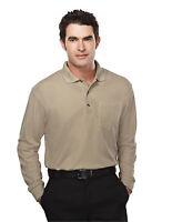 Tri-Mountain Men's Long Sleeve Pique Pocket Hemmed Bottom Polo T-Shirt. 609