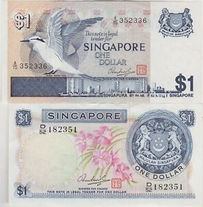 TWO P1d & P9 SINGAPORE ONE DOLLAR BANKNOTES IN NEAR MINT CONDITION