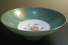 Vintage (1975) Minton Pedestal Bowl, Aquamarine & Gilt, Floral Centrepiece