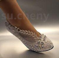 "su.cheny 2"" Lace white light ivory rhinestone Wedding Bridal pumps heels shoes"