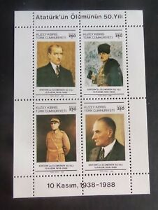 Turkish Cypriot 1988 50th Death ann Kemal Ataturk MS246 UM MNH  unmounted mint