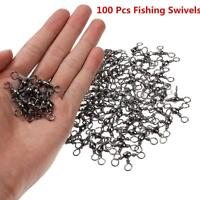 100 Pcs 3 Way Barrel Swivels Solid Rig Rings Fishing Fish Lure Connector  AU √