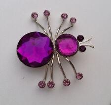 Brosche Anstecknadel Spinne 4 cm silberfarben lila Beere Strass-Steine *NEU*