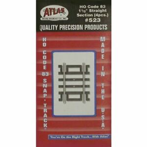 """Atlas 523 HO Scale 1-1/2"""" (1.5"""") Code 83 Straight Snap Track Section (2pcs)"""