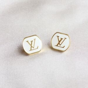 Set of 2 Louis Vuitton LV Logo Buttons 18mm, White, Gold, Square, Stamped