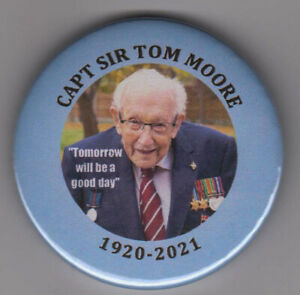 Captain Sir Tom Moore remembrance badge - button pin - 30% GOES TO NHS CHARITIES