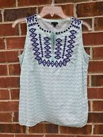 Talbots Sleeveless Cotton Tank Top XS Small White Green Blue Embroidered Shirt