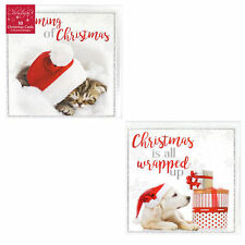 Pack of 10 Christmas Cards with Glitter Detail - Dog and Cat