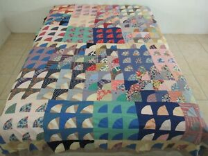 """Vintage Hand Pieced Feed Sack Several Novelty DIRTY WINDOWS Quilt TOP; 88"""" x 70"""""""