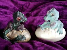 Two baby Dragons hatching from eggs ornament figurines, Fantasy Mythical.